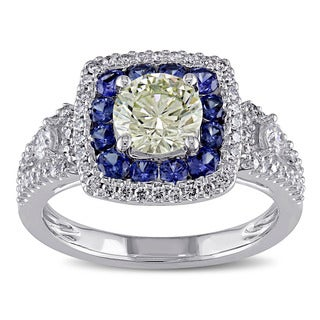 Miadora 18k White Gold Blue Sapphire and 1 1/4ct TDW Yellow and White Diamond Ring (VS1-VS2)