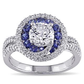 Miadora 18k White Gold Blue Sapphire and 1 1/4ct TDW Diamond Ring (G-H, I1-I2)