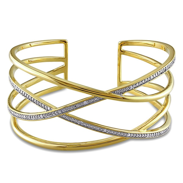 Miadora Yellow Plated Silver 1/10ct TDW Diamond Criss-Cross Cuff Bangle (G-H, I2-I3)