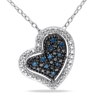 Haylee Jewels Sterling Silver 1/10ct TDW Blue Diamond Heart Necklace (I2-I3)