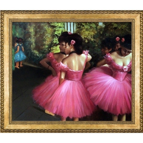 Edgar Degas Dancers in Pink Hand Painted Framed Canvas Art 15115973
