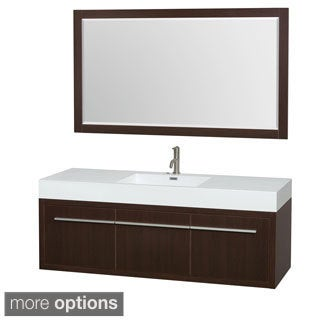 Wyndham Collection Axa 60-inch Single Bathroom Vanity, Acrylic-Resin Top, Integrated Sink, 58-inch Mirror
