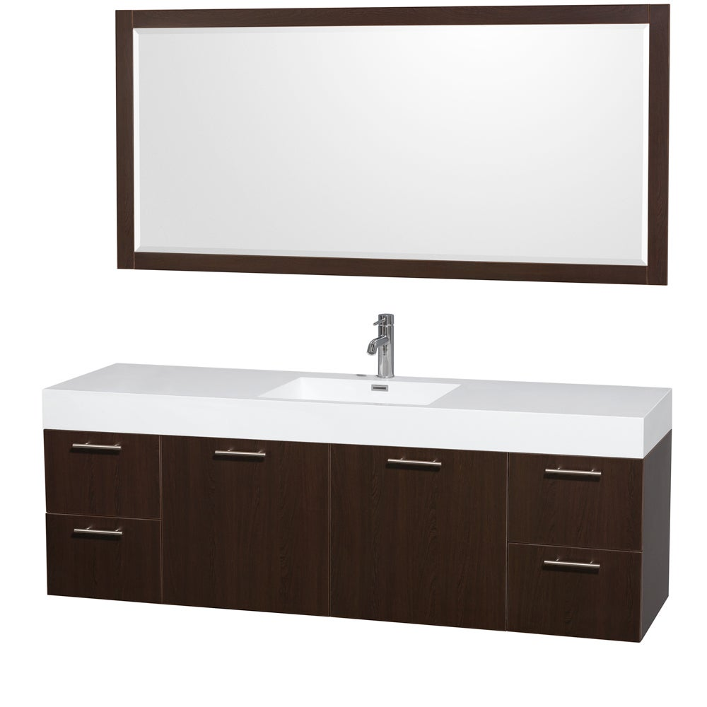 72 inch single bathroom vanity acrylic resin top integrated sink 70