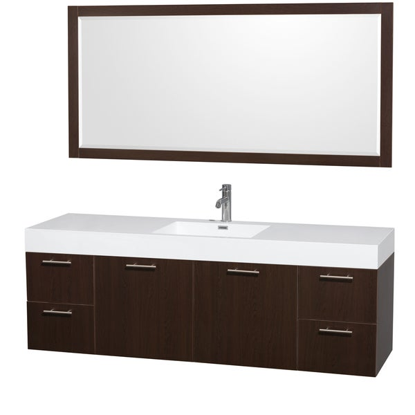 Wyndham Collection Amare 72 Inch Single Bathroom Vanity Acrylic Resin Top Integrated Sink 70