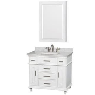 Wyndham Collection Berkeley 36-inch White Single Vanity, Undermount Sink, 24-inch Medicine Cabinet