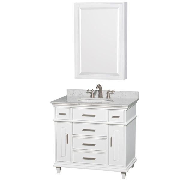 Wyndham Collection Berkeley 36 Inch White Single Vanity
