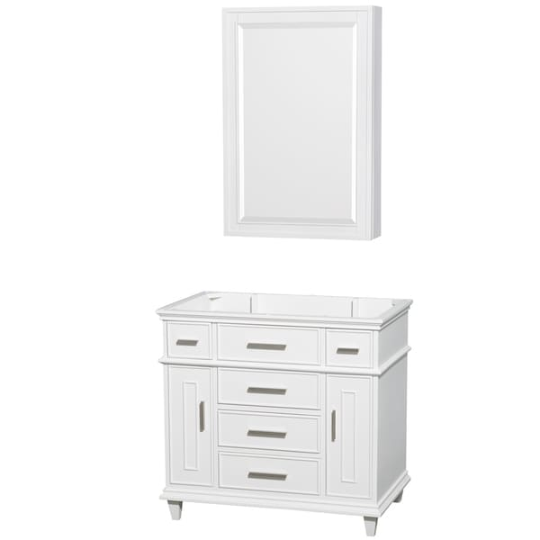 Wyndham Collection Berkeley 36-inch White Single Vanity, 24-inch Medicine Cabinet
