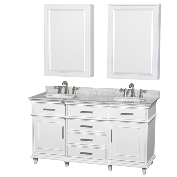 Wyndham Collection Berkeley 60 Inch White Double Vanity Undermount Sinks 24 Inch Medicine