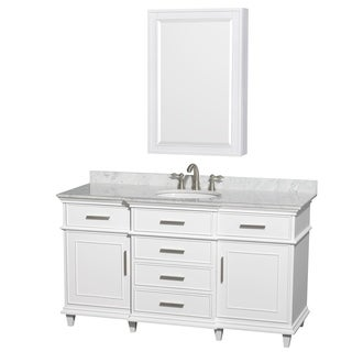 Wyndham Collection Berkeley 60-inch White Single Vanity, Undermount Sink, 24-inch Medicine Cabinet