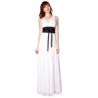 Evanese Women's Chiffon Jersey Satin Tie Long Dress