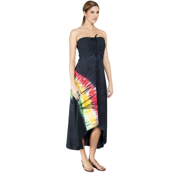 Rasta Tie-dye Strapless Waterfall Dress (Indonesia)
