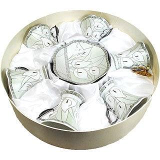 D'Lusso Designs 12-piece Calli Lilly Design Espresso Set in Hat Box