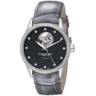 Raymond Weil Women's 2750-SLS-20081 'Freelancer' Diamond Automatic Grey Leather Watch