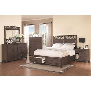 Pinecrest Wire-brushed Dark Black 5-piece Bedroom Set