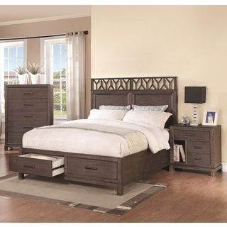 Pinecrest Wire-brushed Dark Black 3-piece Bedroom Set