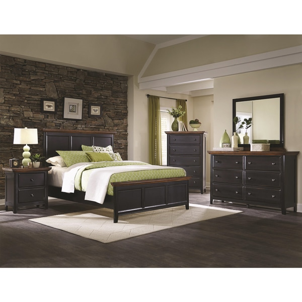 Country Cabin Rustic Brown Rubbed Black 5 Piece Bedroom Set