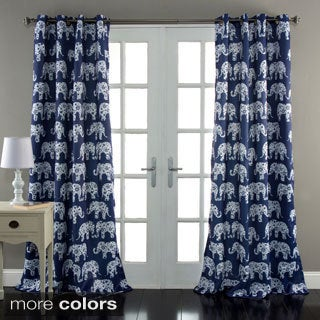 Lush Decor Elephant Parade Room Darkening 84-Inch Curtain Panel Pair