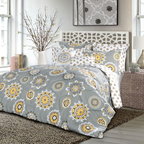 Lush Decor Adrianne Yellow and Grey 7-Piece Comforter Set