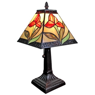 Amora Lighting Tiffany Style Mission Design 14.5-inch Mini Table Lamp