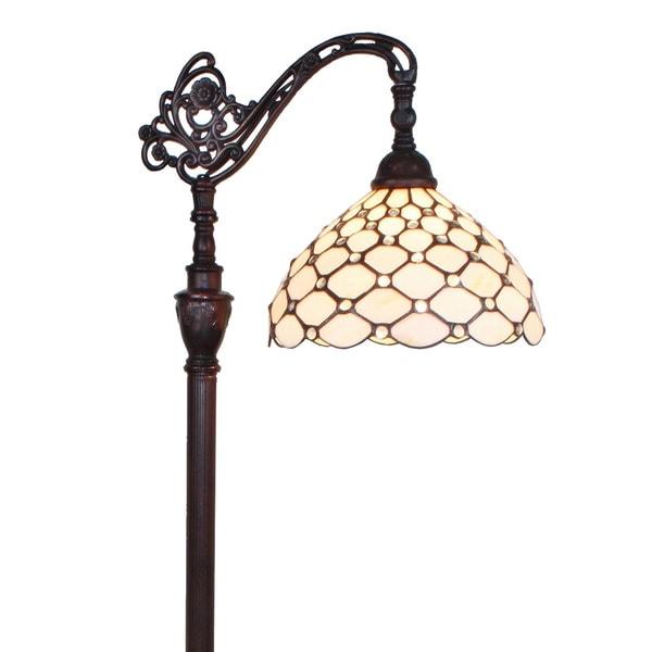 amora lighting tiffany style 62 inch jeweled reading floor lamp. Black Bedroom Furniture Sets. Home Design Ideas