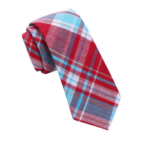 Skinny Tie Madness Men's Red Plaid Skinny tie