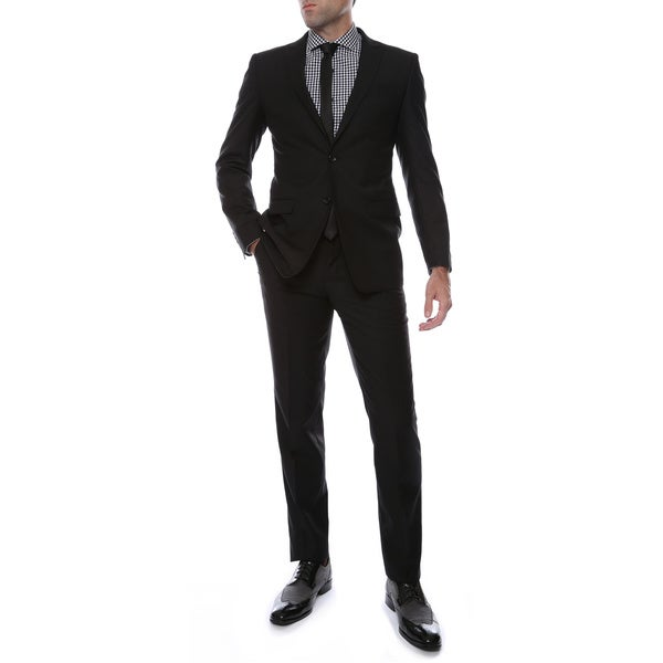Ferrecci's 2pc 2 button Black Slim Fit Peak Lapel Suit