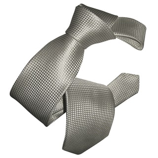 Dmitry Men's White Box Stitched Pattern Italian Silk Tie