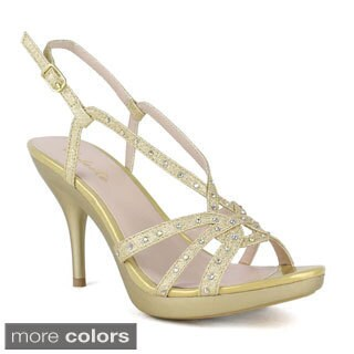 Celeste Women's Lynn-05 High Heel Open Toe T-Strap Shinning Diamond Platform Heel