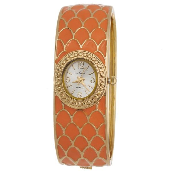 Via Nova Women's Bangle Cuff Watch Gold Case with Gold and Orange Bangle