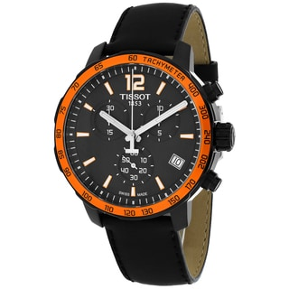 Tissot Men's T0954173605701 Quickster Round Black Leather Strap Watch