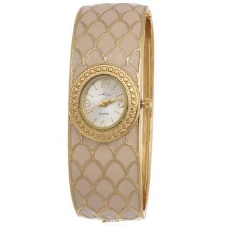 Via Nova Women's Bangle Cuff Watch Gold Case with Gold and Beige Bangle