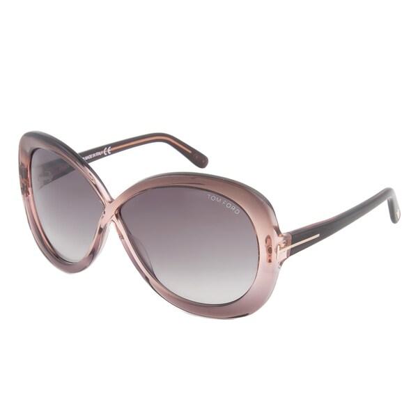 Tom Ford TF 226 74B Margot Shimmer Grey Full Rim Oversized Sunglasses