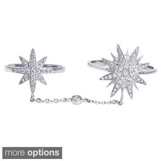 Beverly Hills Charm 14k Gold 2/5ct TDW Diamond Stars Full Finger Knuckle Ring (H-I, SI2-I1) (Size 7)