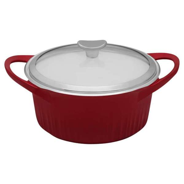 Corningware Red 3.5-quart Cast Aluminum Dutch Oven with Glass Cover 15118007