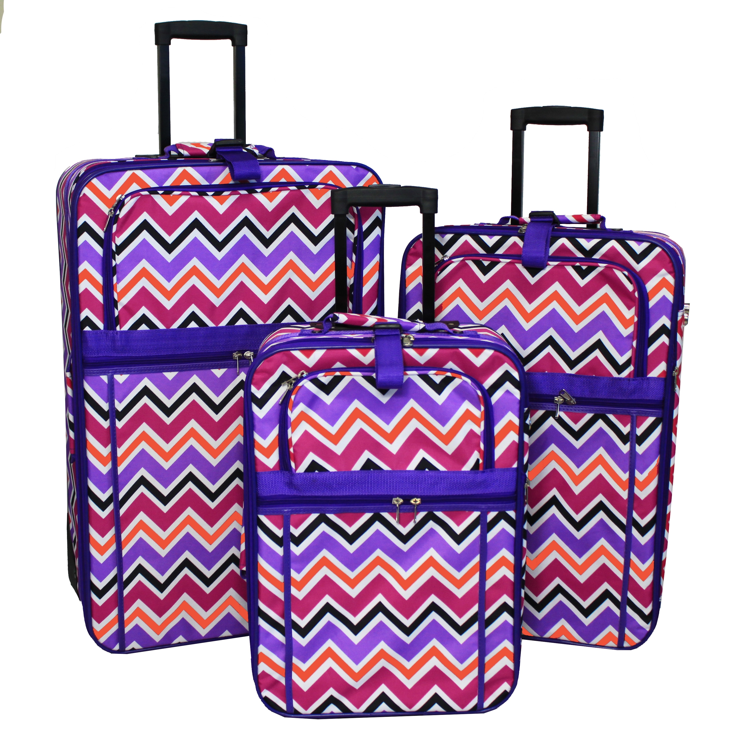 World Traveler Chevron ZigZag Collection Expandable 3-Piece Wheeled Upright Luggage Set