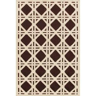 Indoor/ Outdoor Cane Brown PolyAcrylic Rug (5x8)