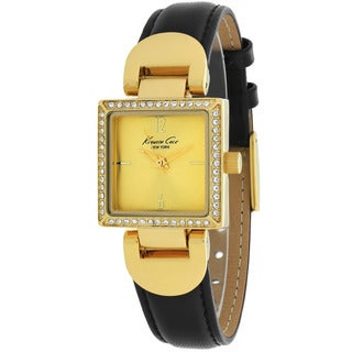 Kenneth Cole Women's 10021987 Classic Square Black Leather Strap Watch