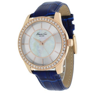 Kenneth Cole Women's 10019396 Classic Round Blue Leather Strap Watch