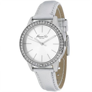 Kenneth Cole Women's 10014623 Classic Round Silvertone Leather Strap Watch