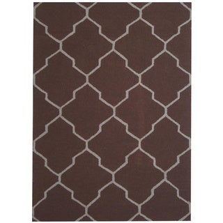 Herat Oriental Indo Hand-tufted Contemporary Design Brown/ Beige Wool Rug (5' x 7')