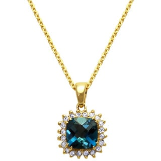 Beverly Hills Charm 10k Yellow Gold Blue Topaz Diamond Accent Halo Necklace