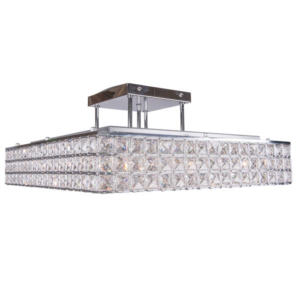 8 light chrome square semi flush mount with clear european crystals Home decorators collection 4 light chrome flush mount