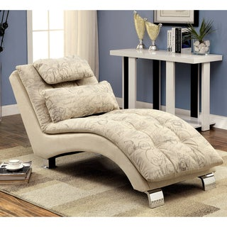 Furniture of America Tianes Contemporary Ivory Script Chaise