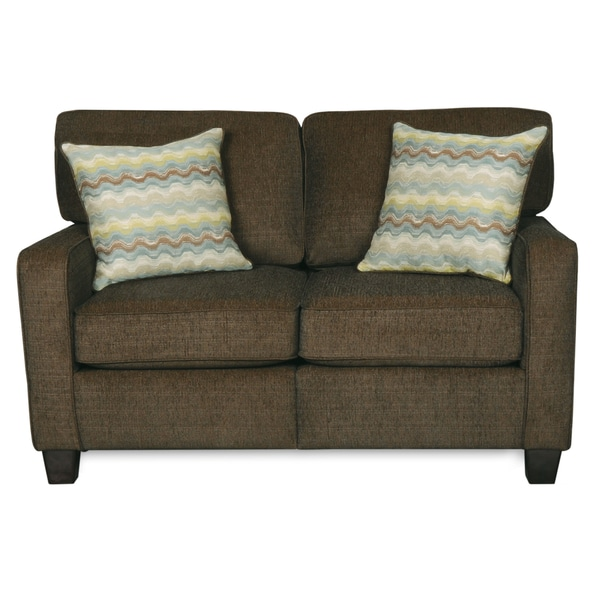 Sofab Macy Quartz Chenille Love Seat With Two Toss Pillows