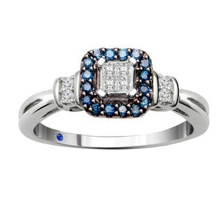 10k White Gold 1/6ct TDW Blue and White Diamond and Blue Sapphire Quad Ring (H-I, I2-I3)