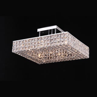6 Light Square Flush mount with Clear European Crystals