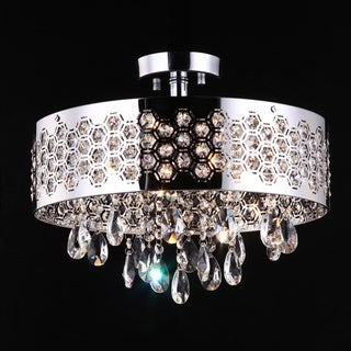 4 Light Shaded Chrome Flush Mount with Clear European Crystals