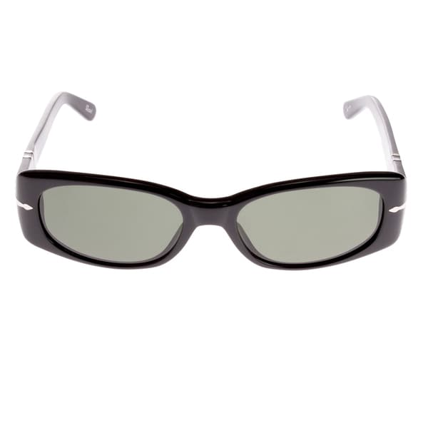 Persol Square Frame Sunglasses with Impact Resistant Lenses, Black and Black Tinted