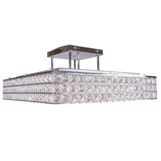8 Light Square Semi Flush mount with Clear European Crystals