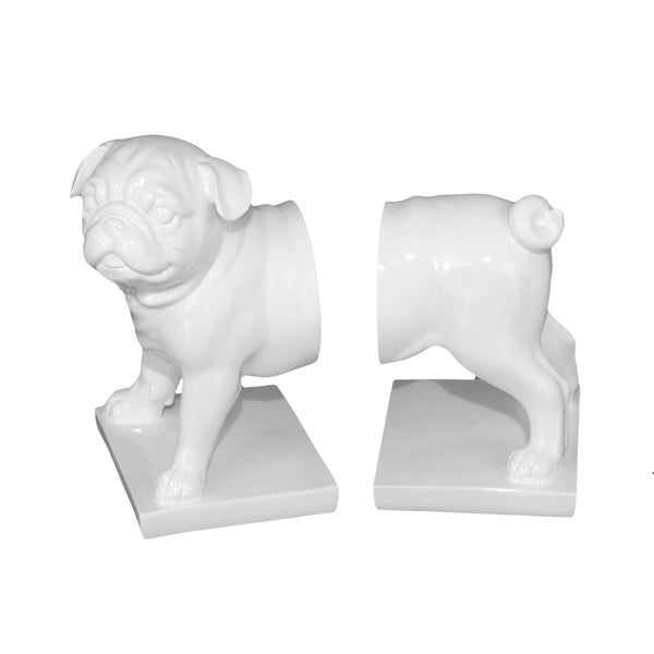White Resin Dog Bookend
